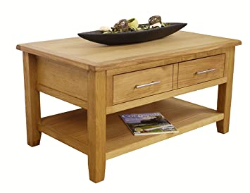 Nebraska Modern Oak 2 Drawer Coffee Table / Storage With Shelf / Living  Room Furniture Part 83