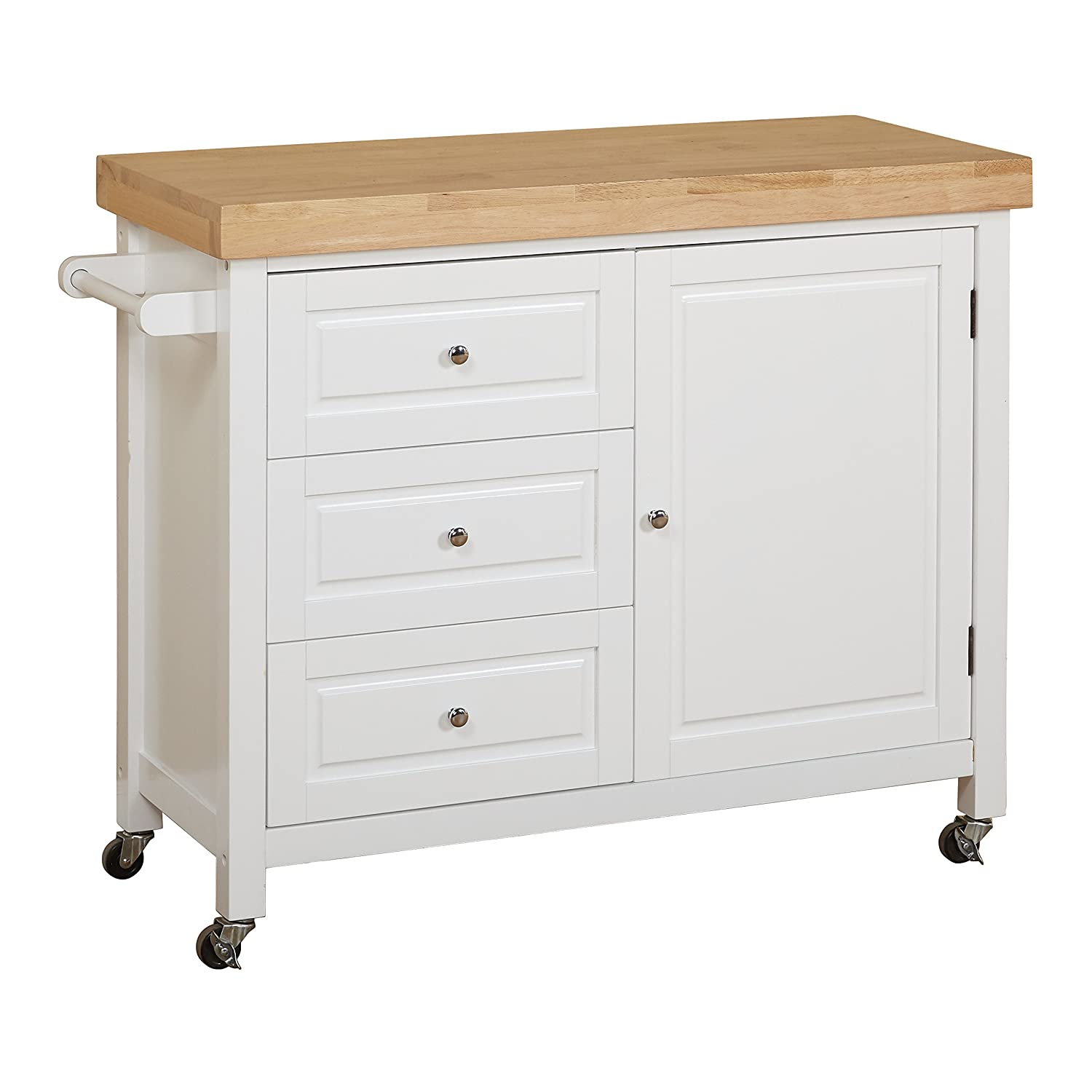 Target Marketing Systems Monterey Wood Top Kitchen Buffet Cabinet With Three Drawers and Cabinet with Shelf With Towel Bar on Caster Wheels, Espresso 20550ESP