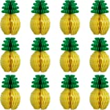 WILLBOND 12 Pack Pineapple Honeycomb Centerpieces Tissue Paper Pineapple 8 Inch Party Supplies Table Hanging Decoration Hawai