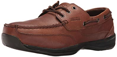Rockport Mens Dark Brown Leather Boat Shoes Sailing Club Steel Toe 7 M