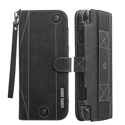 Étui en cuir Flip Flip Nintendo Switch - Housse de protection OBOR Portefeuille de protection avec Kickstand et Snap magnétique, bracelet ajusté pour un transport facile (Noir)