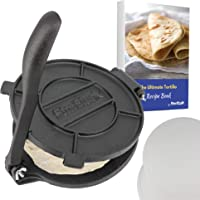 8 Inch Cast Iron Tortilla Press by StarBlue with FREE 100 Pieces Oil Paper and Recipes e-book - Tool to make Indian…