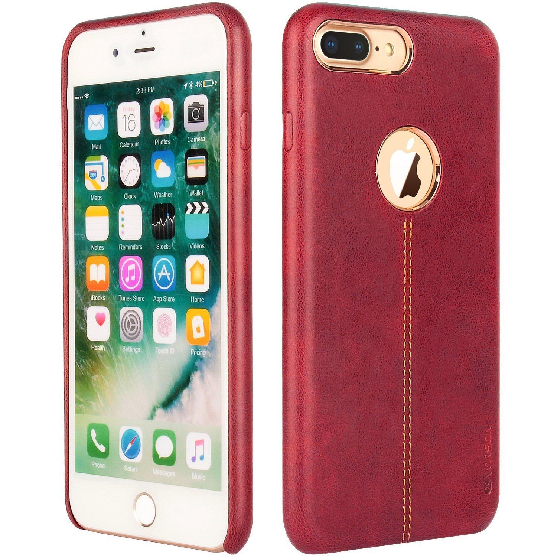 iPhone 7 Plus用ウルトラスリムフィット人工PUレザーケース耐衝撃保護カバーiPhone 7 Plus用(レッド)   B076BMHQ14