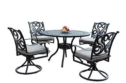 Amazon Com Outdoor Cast Aluminum Patio Furniture 5 Piece Dining Set