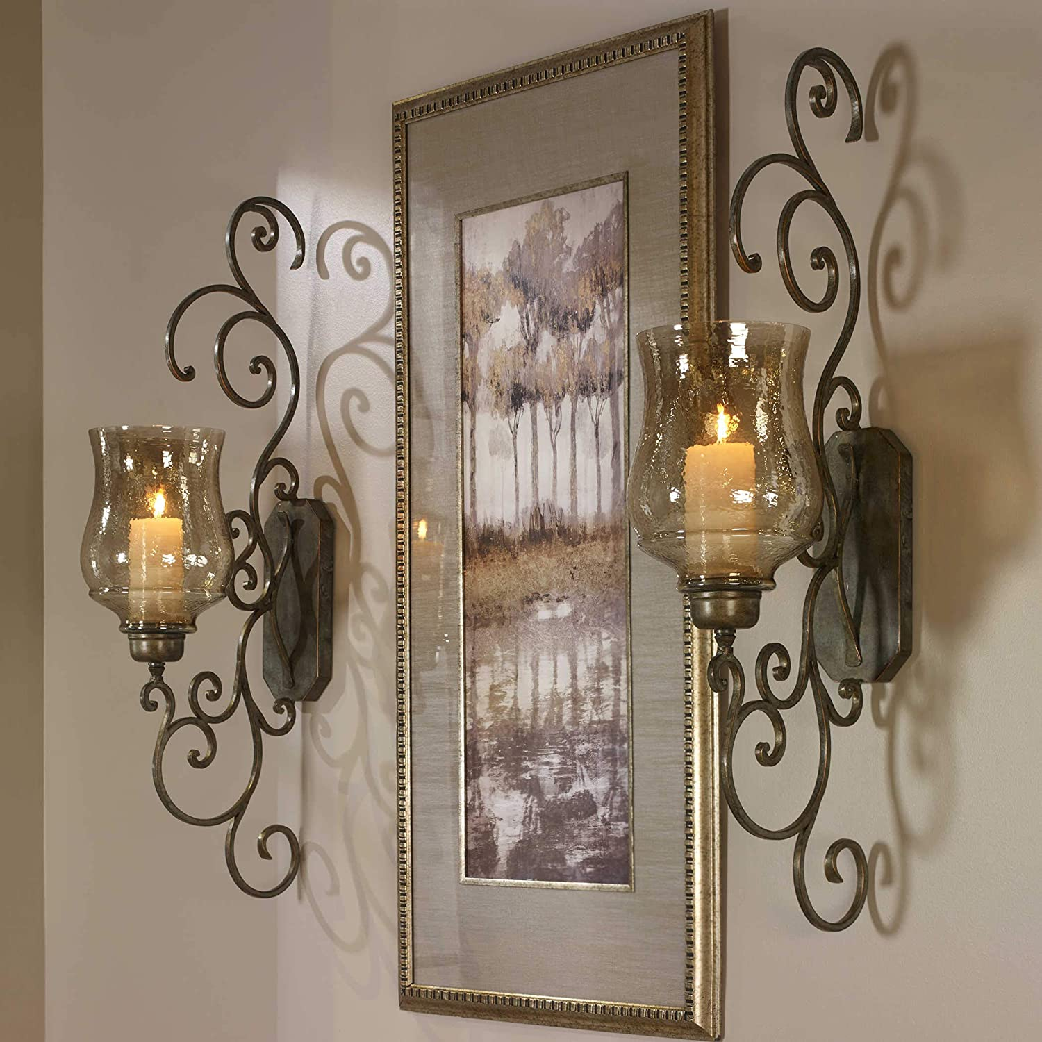 Swirl Design Iron Scrollwork  Candle Sconces Wall Decor Set of 2