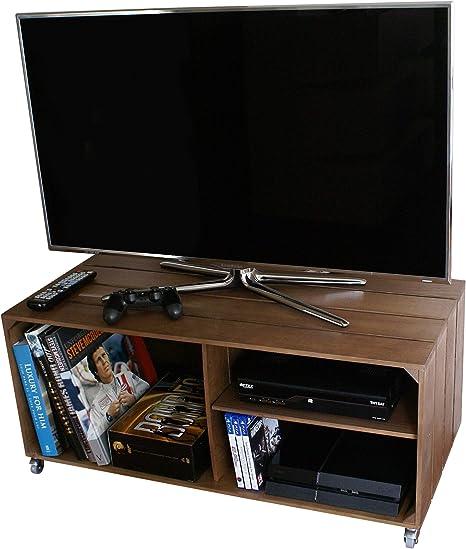 Liza Line Mesa DE Madera, Mueble TV con 3 Compartimentos y Ruedas Giratorias. Mueble Televisor de