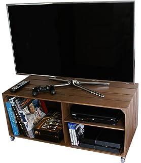 Liza Line Mesa DE Madera, Mueble TV con 3 Compartimentos y Ruedas Giratorias. Mueble…