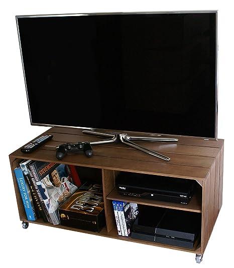 Liza Line Mesa DE Madera, Mueble TV con 3 Compartimentos y Ruedas Giratorias.
