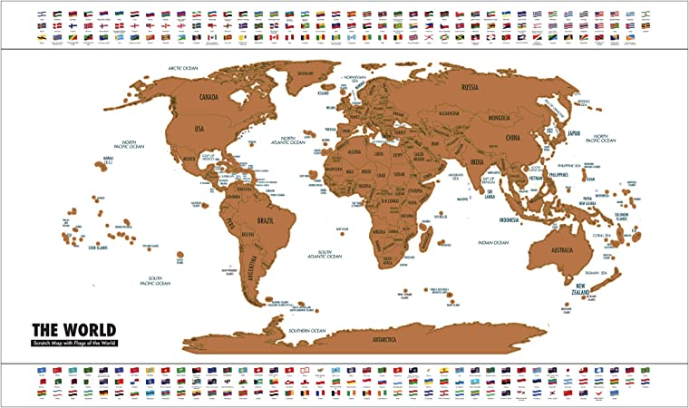 LEVIVO Mapa con Recubrimiento metálico para rascar, Paper, Oro ...