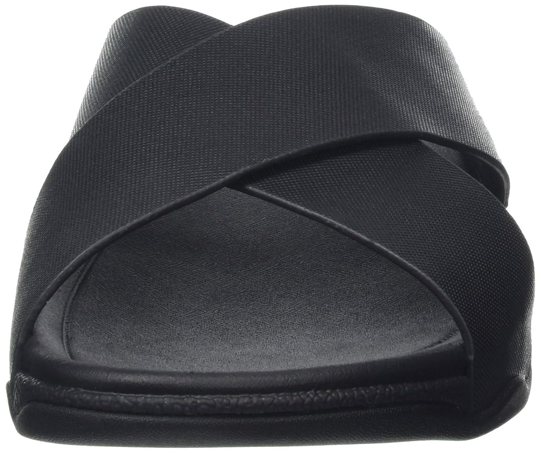FitFlop Herren Surfer (schwarz) Leder Slide Sandalen Schwarz (schwarz) Surfer ea2609