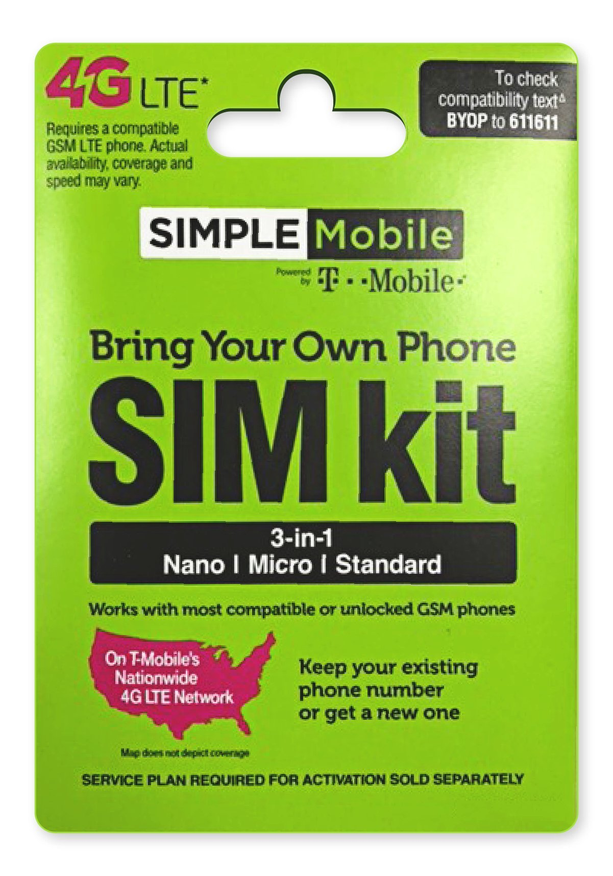Simple Mobile Micro SIM Card with $50 Month Unlimited Everything Plan  Dual  Cut / Micro / Mini 4G LTE SIM Prefunded Preloaded Activation Kit($50