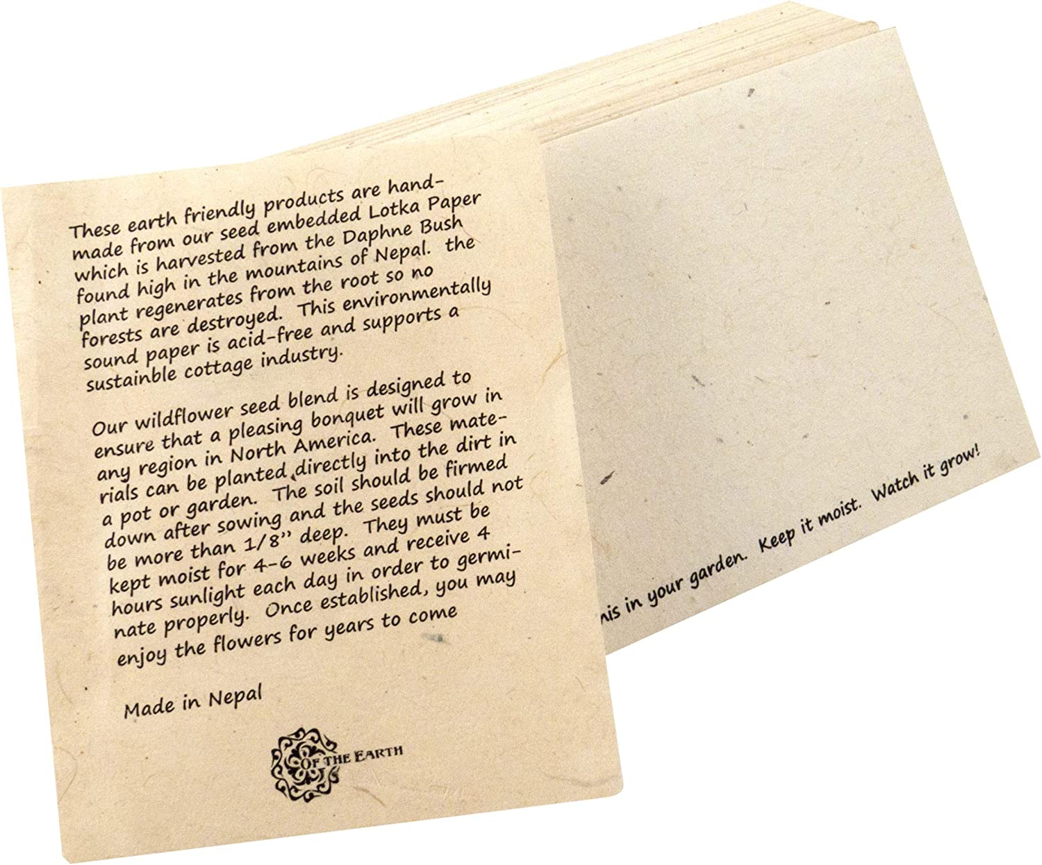 Of The Earth seeded plantable paper make great eco friendly wedding invitations