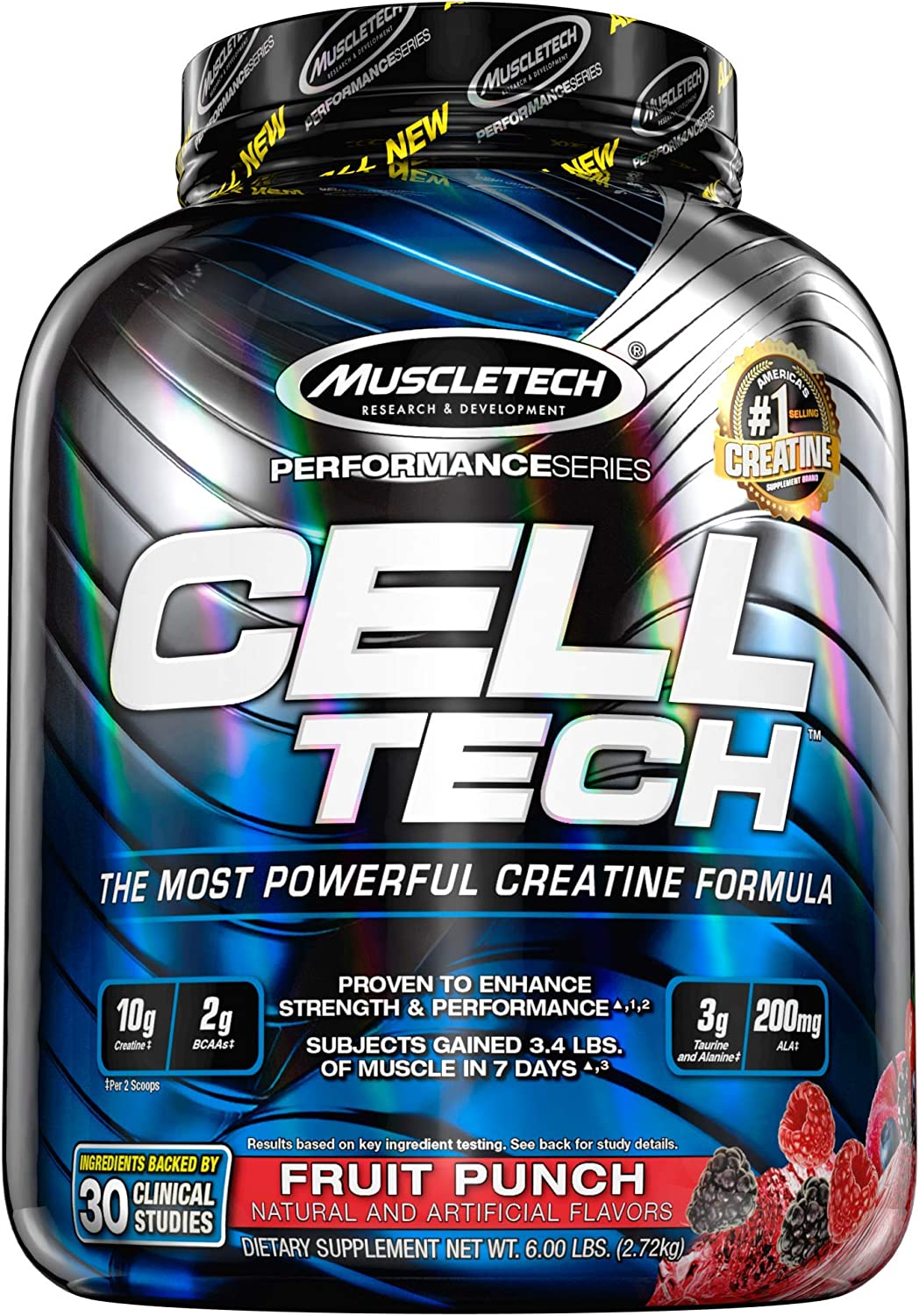 Creatine Monohydrate Powder + Carb Mass Gainer | MuscleTech Cell-Tech | Post Workout Recovery Drink | Muscle Recovery + Muscle Builder | Amino Acids, BCAA Powder | Fruit Punch, 6 lbs (56 Servings): Health & Personal Care
