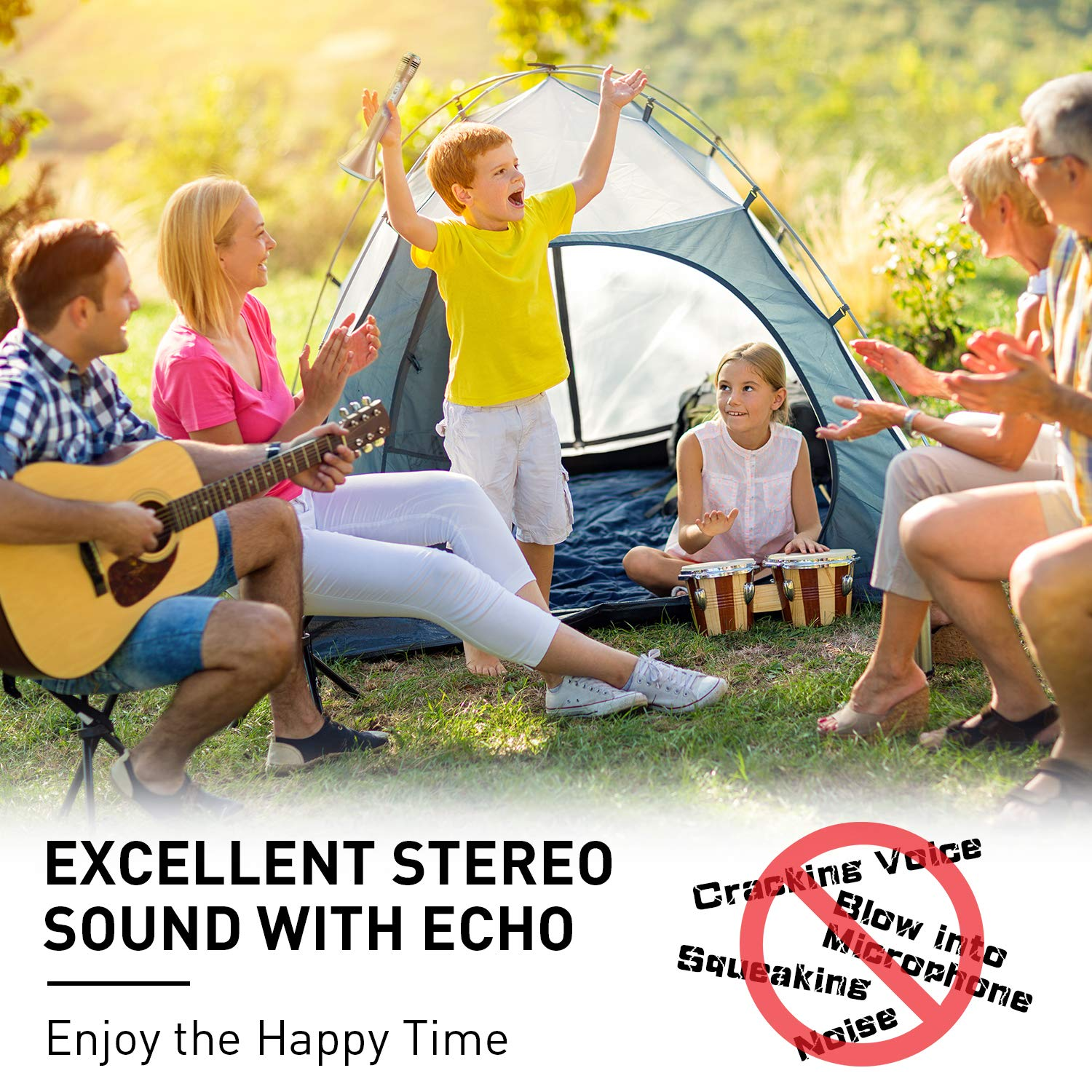 Microphone for Kids, Wireless Bluetooth Microphone with Bluetooth Speaker and Multi-color LED Lights Handheld Singing Machine Girls Boys Birthday Gift Compatible with PC/iPad/Smartphone - (Champagne) by WOSTOO (Image #5)