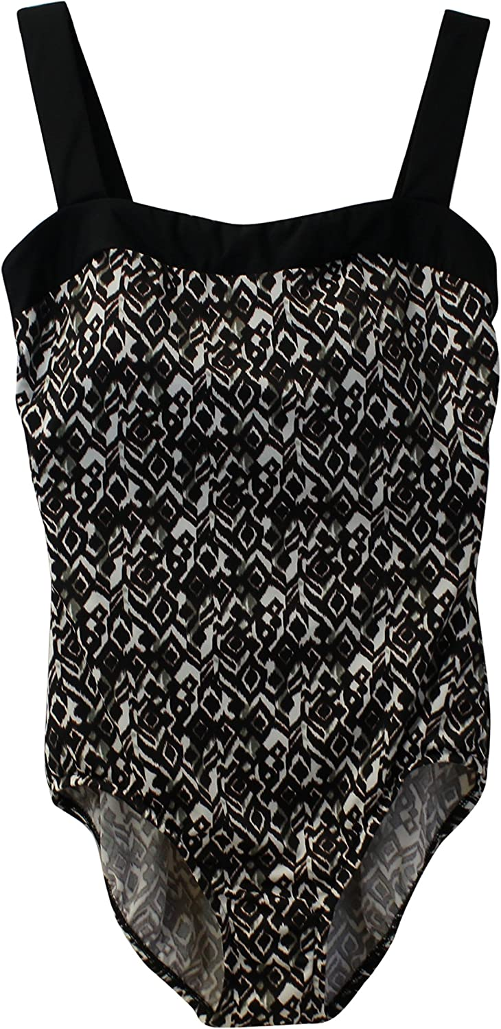 INC International Concepts Womens Ruched One-Piece Black//White 8