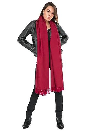 Châle  Kasa  en laine mérinos (Echarpe extralarge 100 X 215cm) Bordeaux d8538bf1df3