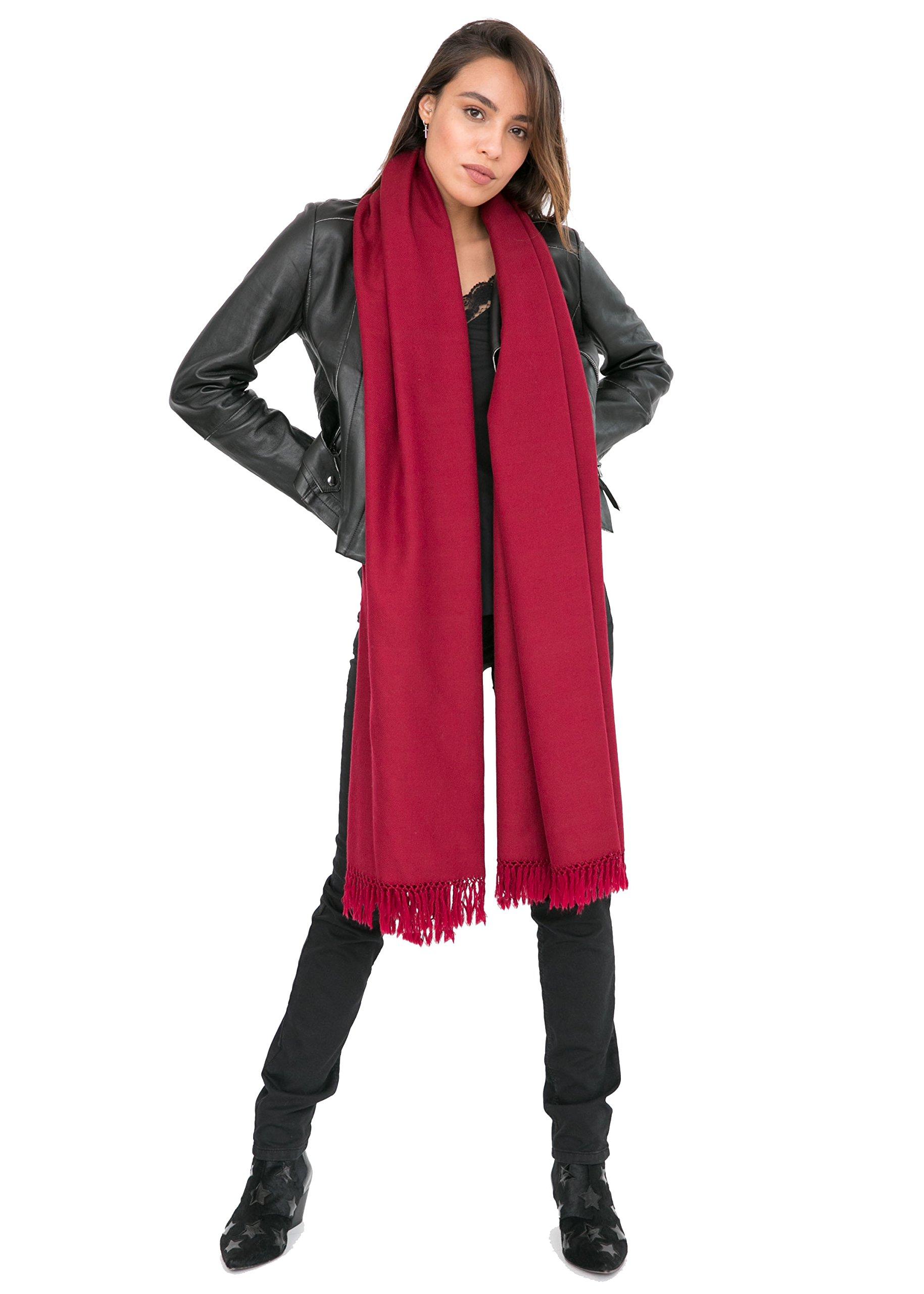 likemary Merino Wool Wrap Shawl & Blanket Scarf Oversize Fairtrade Pashmina Kasa Burgundy 100 x 215cm