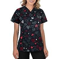 B-well Bambina Casacas Sanitarias Mujer Manga Corta Cuello V para Enfermeras, Dentistas, Médicos, Estudiantes y…