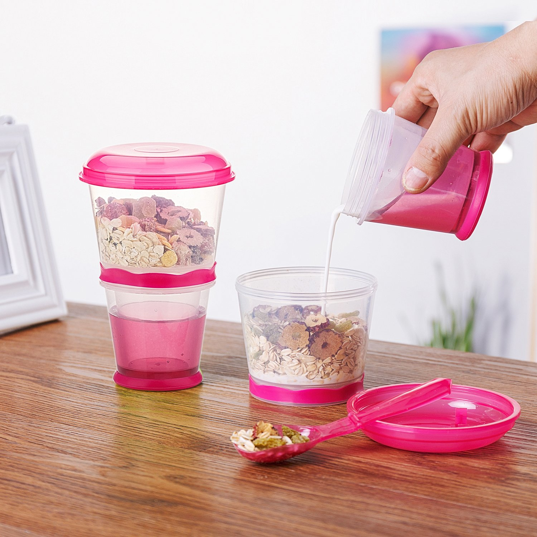 Recipiente para cereales de viaje con compartimento de refrigeración para leche, con cuchara: Amazon.es: Hogar