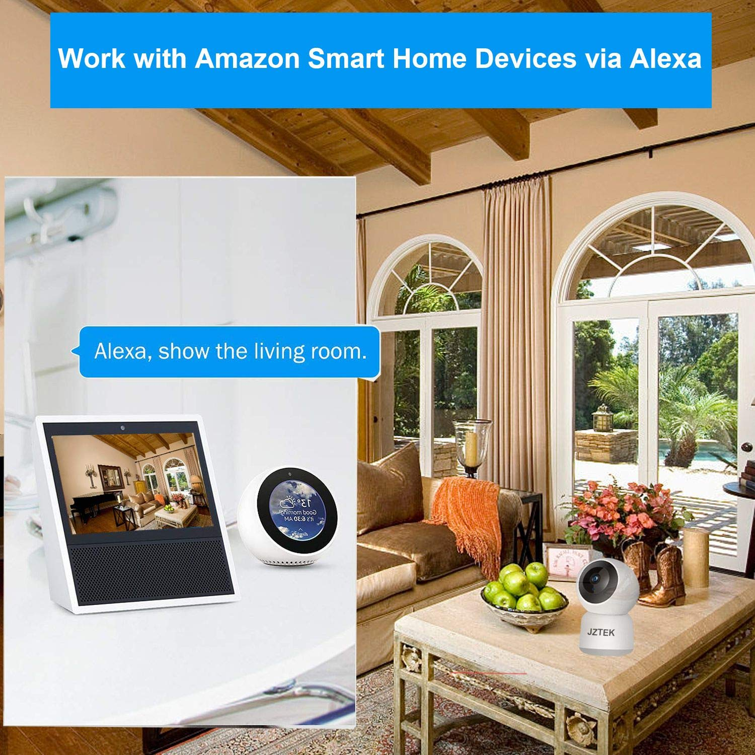 WiFi Dog IP Camera 1080P, JZTEK Smart Wireless Cam Pan/Tilt/Zoom with Cloud Service 3D Image Touch Navigation Panoramic View Night Vision, Two-Way Audio, Motion Detection for Elder,Baby,Pet by JZTEK (Image #4)