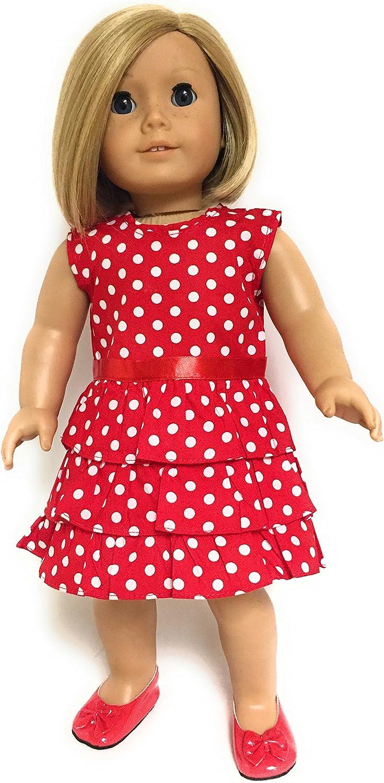 "Green White Polk A Dot Doll Dress Clothes Fits 18"" American Girl Dolls"
