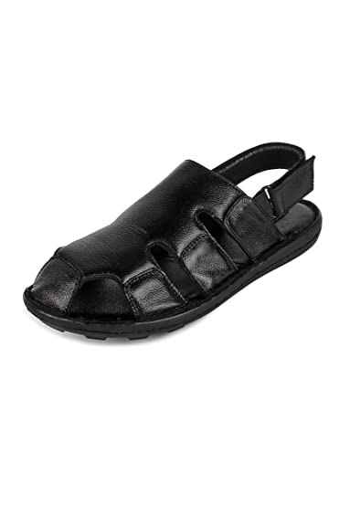 0f95a30c65b4e9 SHOOZ Men s Designer Black Leather Sandals  Buy Online at Low Prices ...