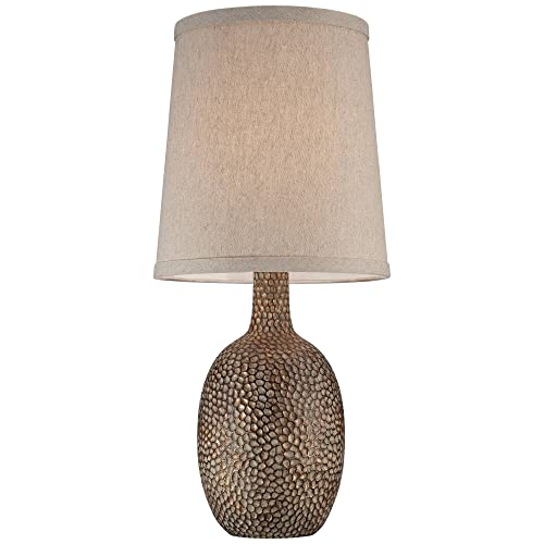 Chalane Modern Accent Table Lamps Set of 2 Hammered Antique Bronze Natural Linen Tapered Shade for Living Room Family Bedroom – 360 Lighting