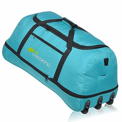 Bolsa de viaje XXL con ruedas Cocoono Storm 100-135 litros de volumen, bolsa de viaje plegable, maleta, petróleo (Multicolor) - 15581