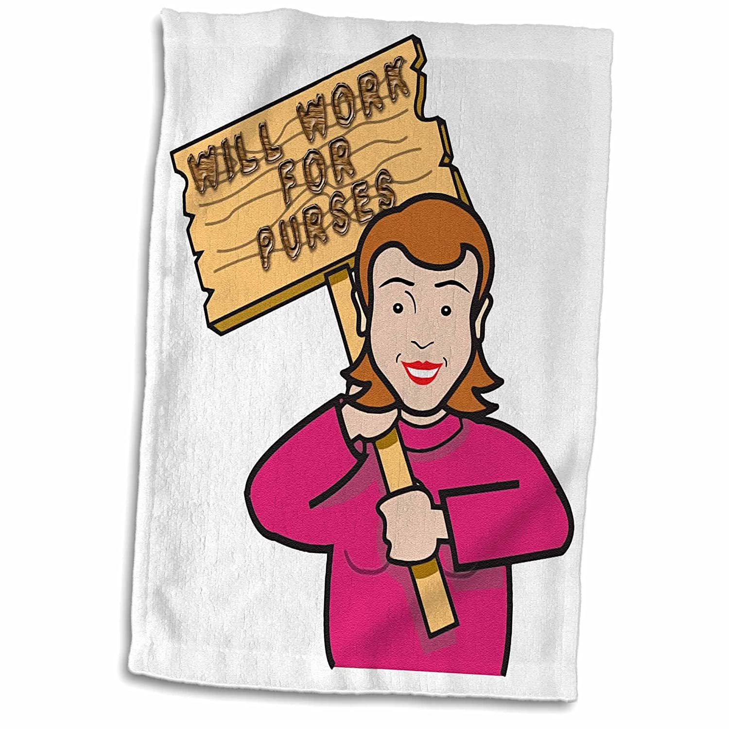 3D Rose Funny Humorous Woman Girl with A Sign Will Work for Purses Hand//Sports Towel 15 x 22 Multicolor