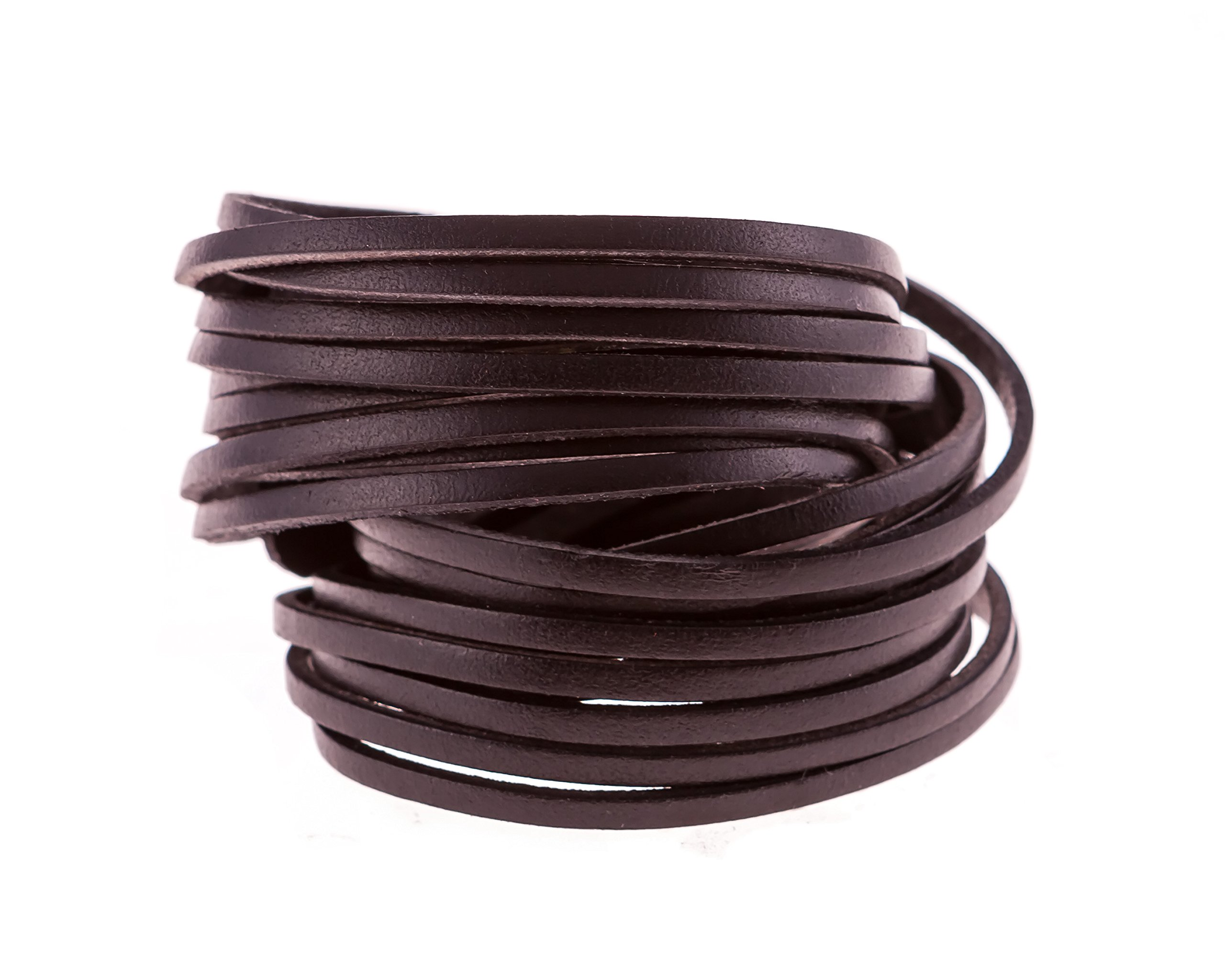 True Heart Style Genuine Leather Wrap Multi-strand 10 Strand Bangle Cuff Bracelet Classic Black