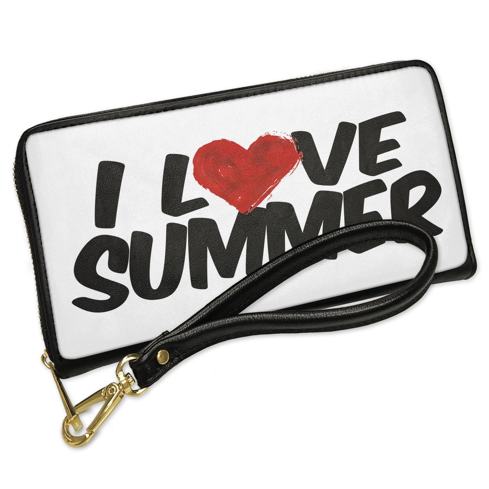 Wallet Clutch I Love Summer with Removable Wristlet Strap Neonblond