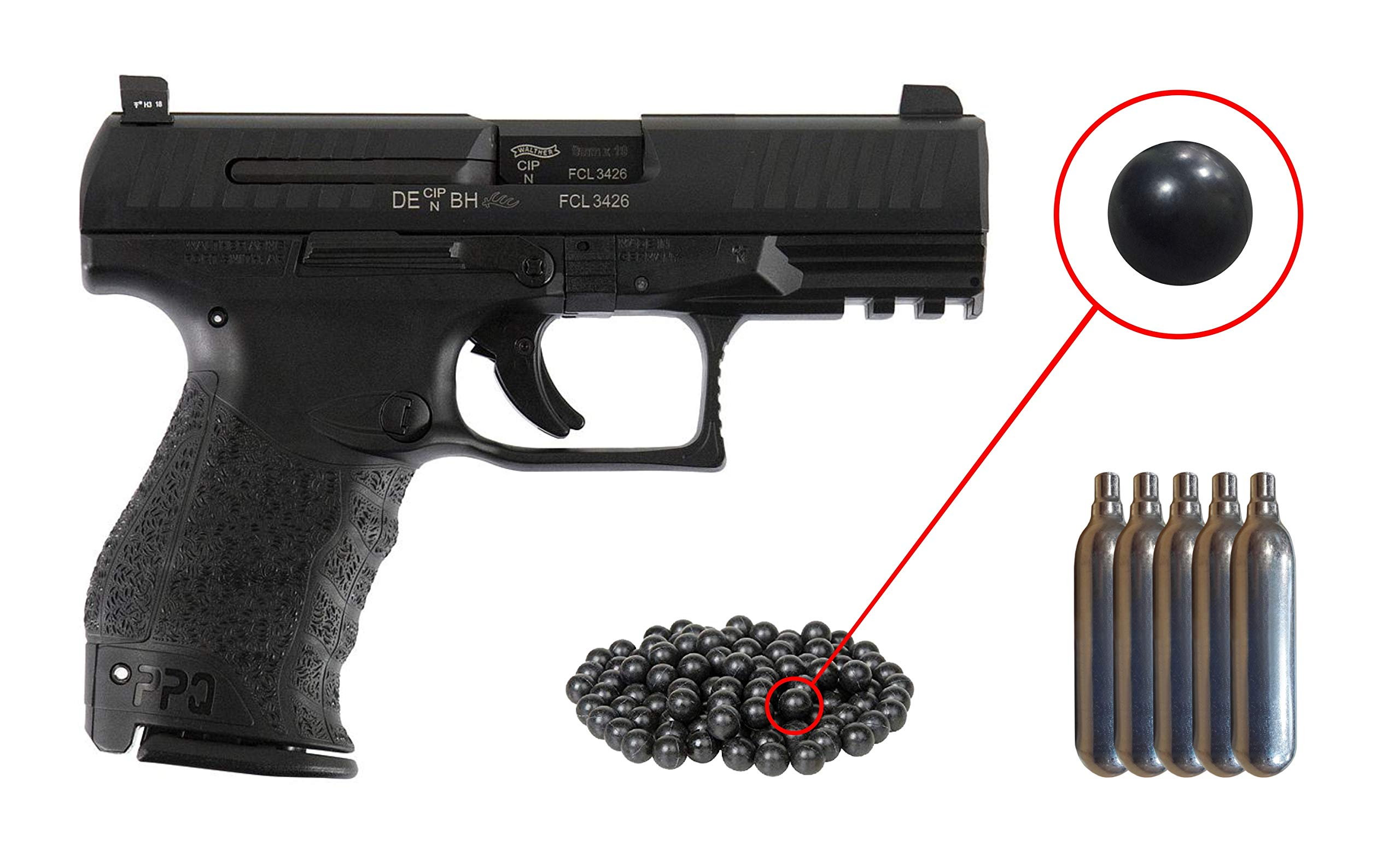 T4E .43cal Walther PPQ LE Paintball Pistol Law Enforcement Trainer with Included 5x12 Gram CO2 Tanks and T4E Pack of 500 .43 Cal Reusable Rubber Balls Bundle (Black) by Wearable4u
