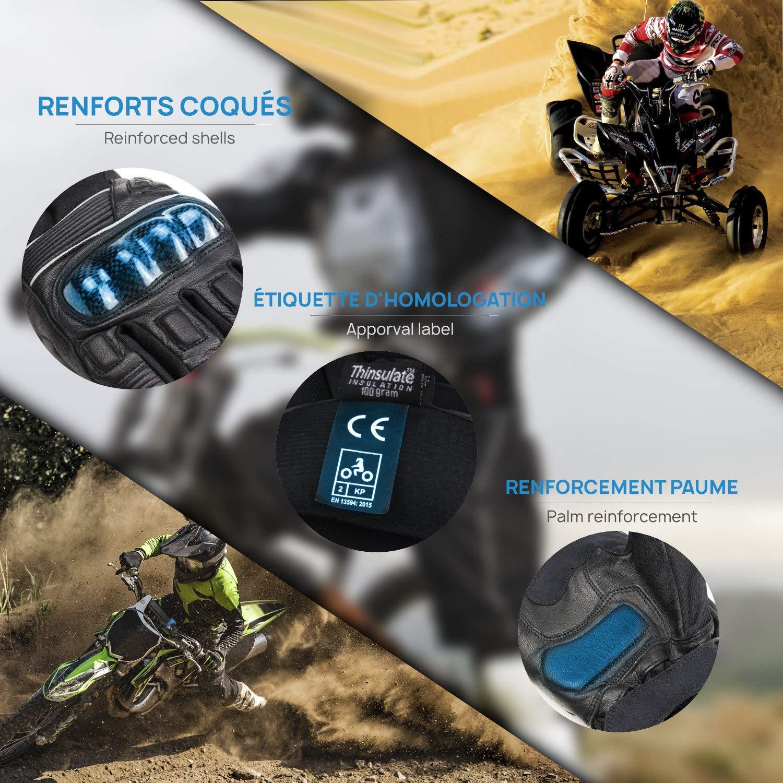 touch per smartphone GPS con fodera in Thinsulate 3M doppio 2019 MAXAX Guanti da moto omologati CE 2KP polsino con doppia serratura impermeabili invernali unisex protezione multirinforzata
