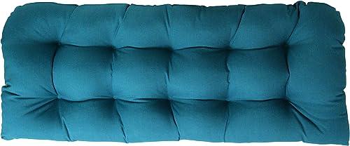 RSH DECOR Sunbrella Canvas Peacock Wicker Love Seat Cushion