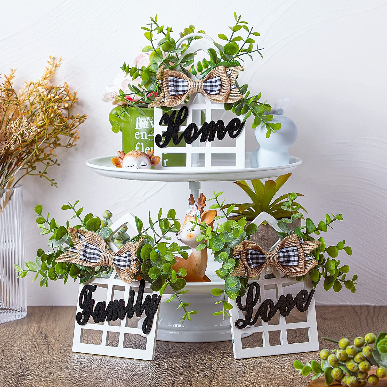 Jetec 3 Pieces Farmhouse Window Tiered Tray Decorations Cathedral Arch Window Sign Wood Home Family Love Sign Decor Farmhouse Window Decoration for Tiered Tray Shelf Table Counter