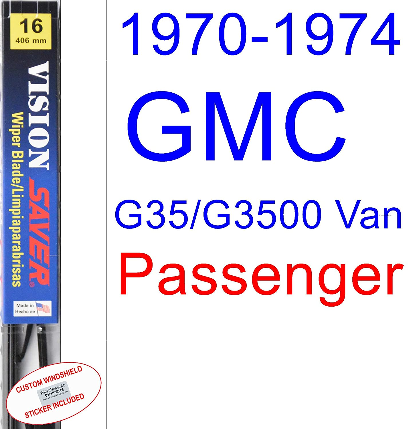 Amazon.com: 1970-1974 GMC G35/G3500 Van Wiper Blade (Driver) (Saver Automotive Products-Vision Saver) (1971,1972,1973): Automotive