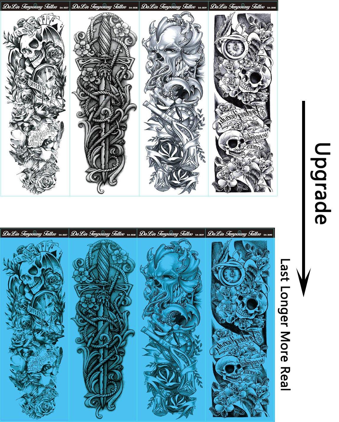 Amazoncom Dalin 4 Sheets Extra Large Temporary Tattoos Full Arm