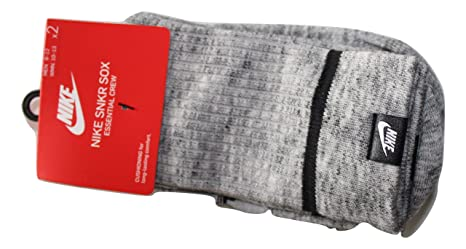 8e01749a3a49a Amazon.com : Nike Men's 2-Pack SNKR Sox Crew Socks (Gray) : Sports ...