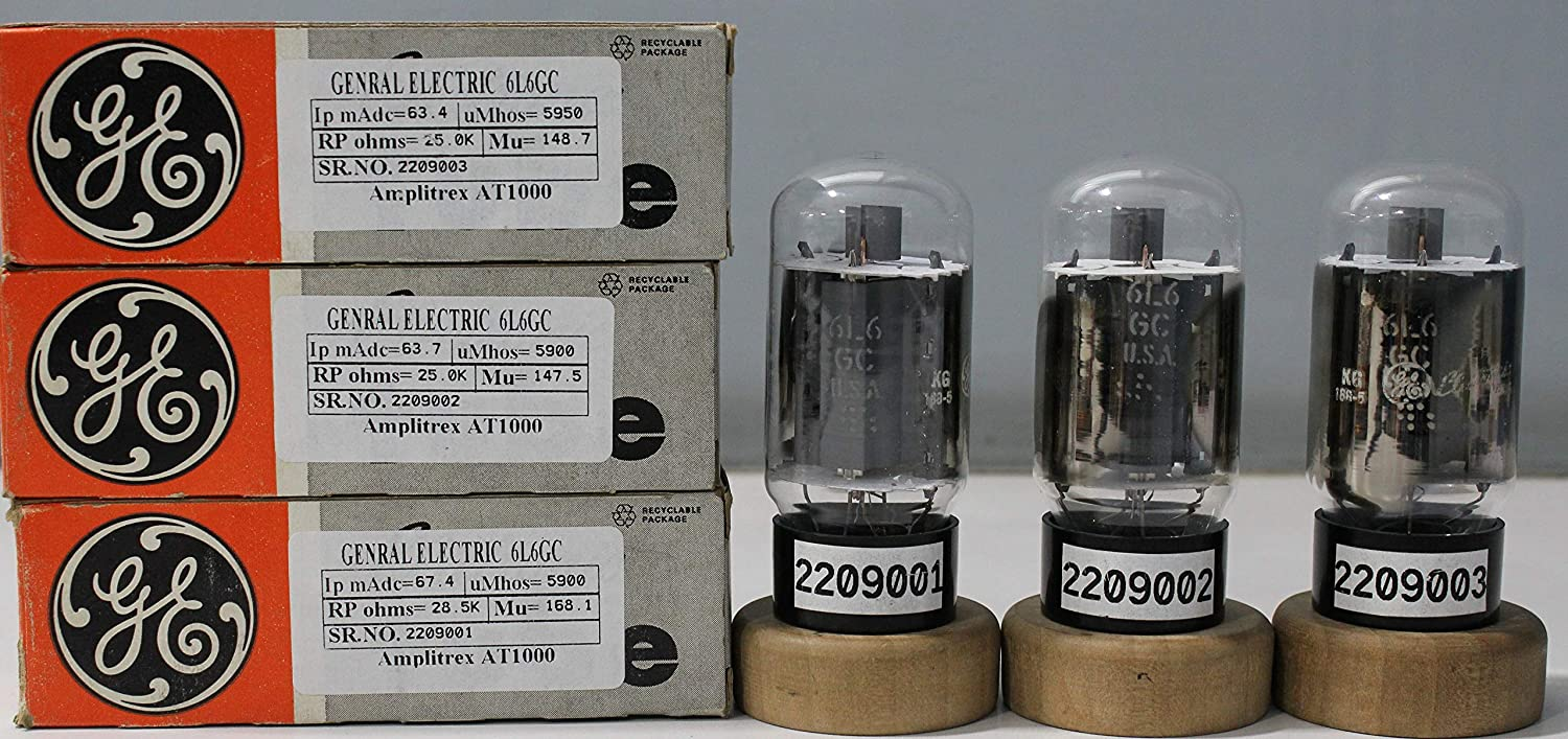3Pcs 6L6GC General Electric NOS Nib Made in U.S.A Amplitrex Tested#2209001&2&3