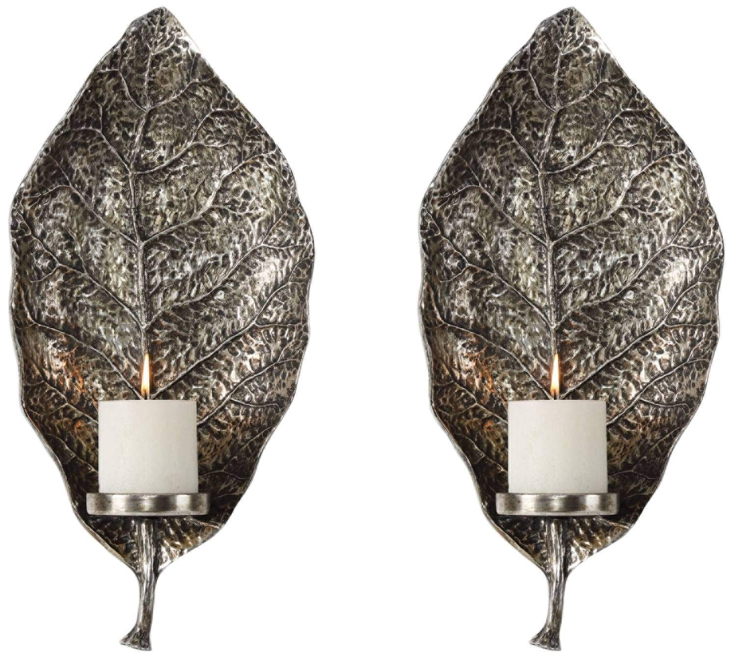 Uttermost Zelkova 19 1/2'' H Antiqued Silver Candle Wall Sconce Set of 2