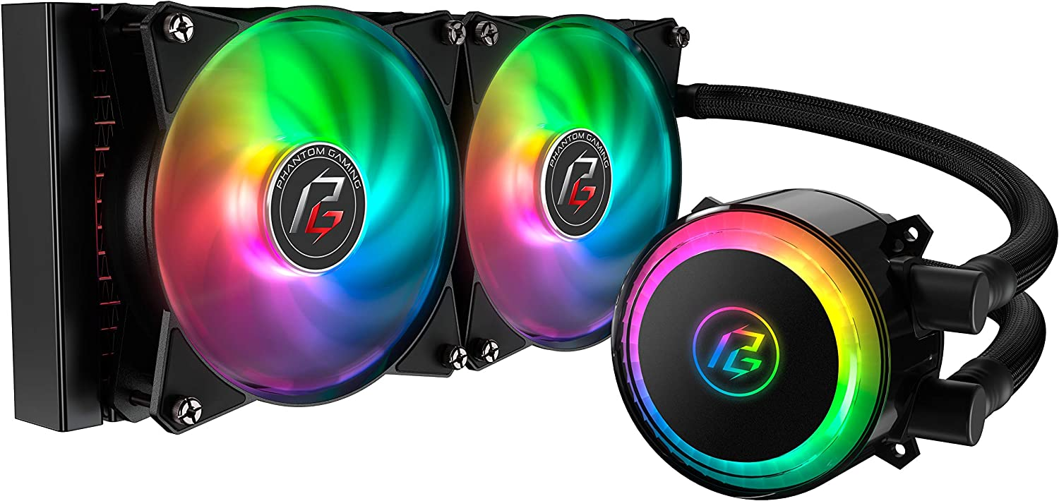 Cooler Master MasterLiquid ML240R Phantom Gaming Addressable RGB Close-Loop AIO CPU Liquid Cooler, 240 Radiator, Dual Chamber Pump & MF120R Fans, Independently-Controlled LEDs for AMD Ryzen/Intel 1151