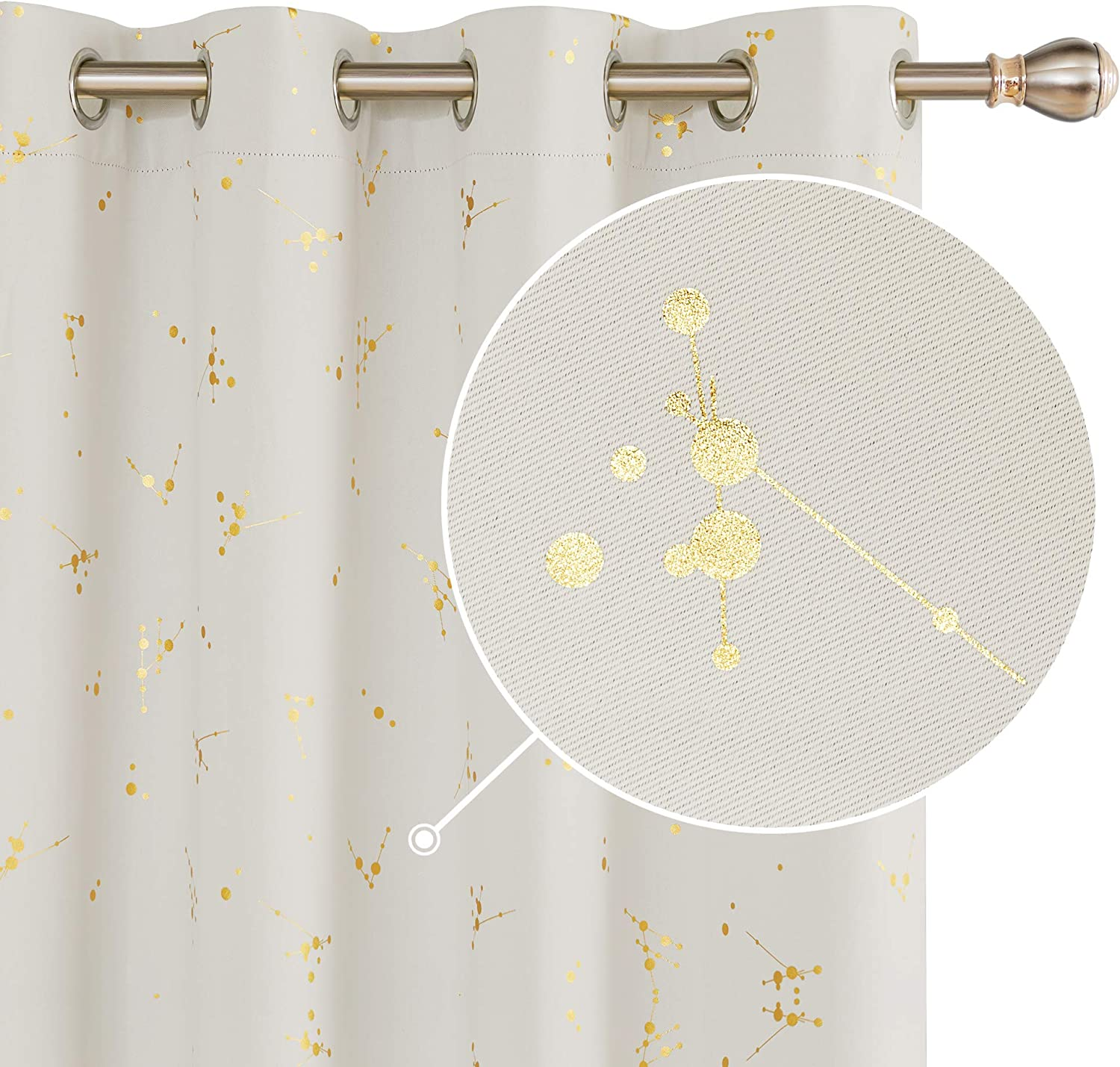Deconovo Gold Constellation Printed Curtains Thermal Insulated Curtains Eyelet Blackout Curtains for Kids Bedroom with Two Matching Tie Backs Light Grey W66 x L54 One Pair