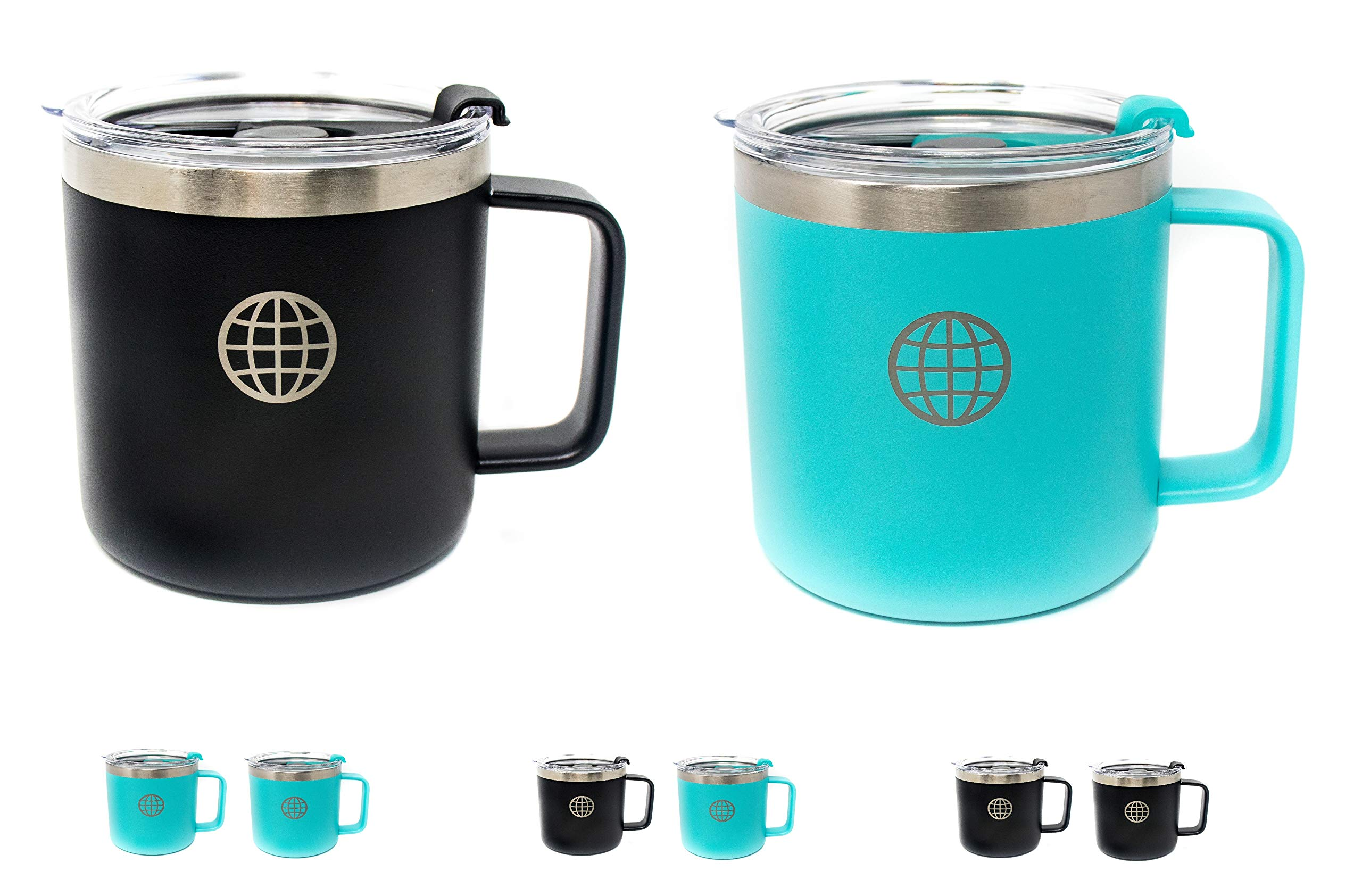 Cool Coffee Mug with Lid and Handle - JTSC Products 2 Pack 14 oz Double Wall Insulated Stainless Steel coffee mug - Cool gifts for Men - Large coffee mug for Camping - Big Coffee Mug (Black Blue)