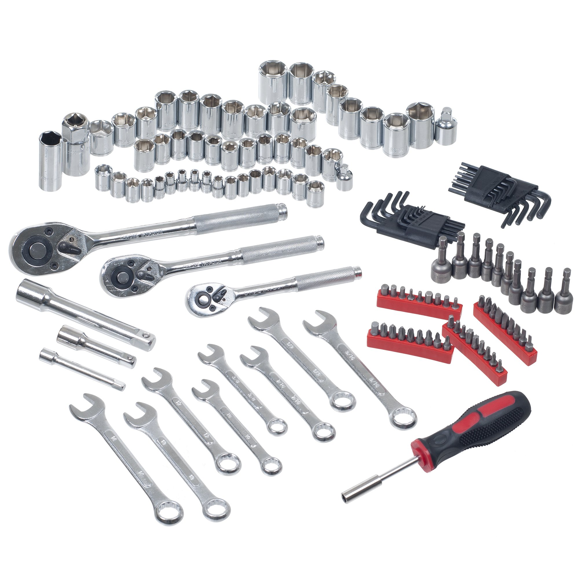 Mechanic's Tool Set- 135 Piece by Stalwart, Hand Tool Set Includes – Screwdriver, Wrench, and Ratchet Set (Great for the Home, Garage, or Car) by Stalwart (Image #2)