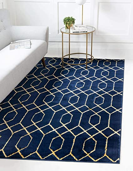 Unique Loom Marilyn Monroe Glam Collection Textured Geometric Trellis Area Rug 4 X 6 Feet Navy Blue Gold Amazon Co Uk Kitchen Home