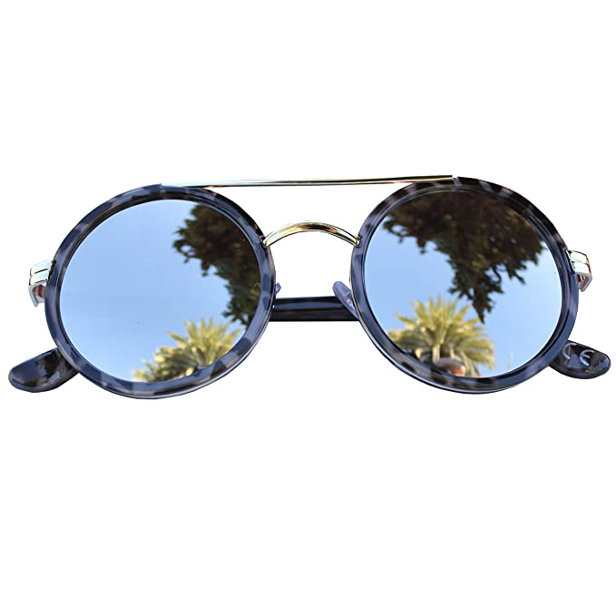 FERETI Gafas De Sol Redondas Leopardo Marron Mujer Espejo ...