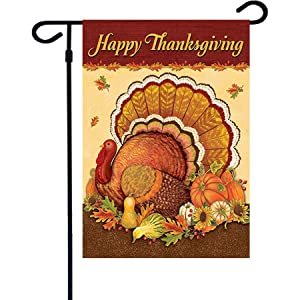 Thanksgiving Garden Flags,12.5 x 18 Inch Double Sided Printing 2 Layer For Holiday Seasonal Decoration