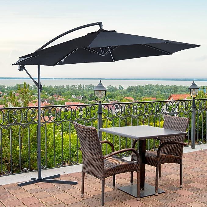 Outsunny - Sombrilla de jardín de 3 M Banana para Colgar Paraguas voladizo con manivela Plus 8 Costillas y Poste - Negro: Amazon.es: Jardín