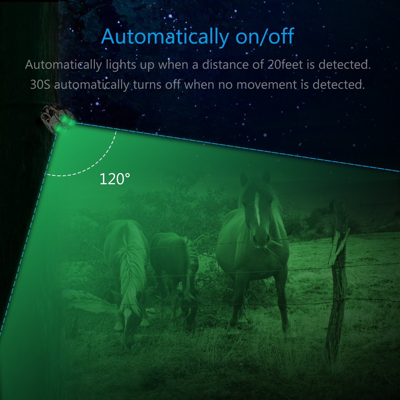 TRAIL WATCHER Feeder Luz Verde LED de luz Movimiento aktivierter Sensor Solar Resistente al Agua Giratorio para Cerdo Animal Depredadores kojote Noche de Cabra Caza