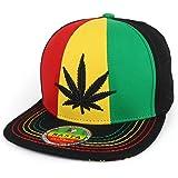 Trendy Apparel Shop Rasta Marijuana Leaf Weed 3D Embroidered Flat Bill  Snapback Cap 733abbdecb9a
